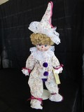 Dynasty Doll Collection Clown Porcelain Head/Hands/Feet w/ Stand