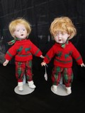 Pair - X-Mas Themed Dolls no Stand w/ Porcelain Head/Hands/Feet
