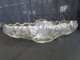 Ornate Scalloped Glass Oval Large Centerpiece Dish Gilted Trim