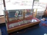 Glass Display Case w/ 4 Glass Shelves, Sliding Back Door, Wood Base