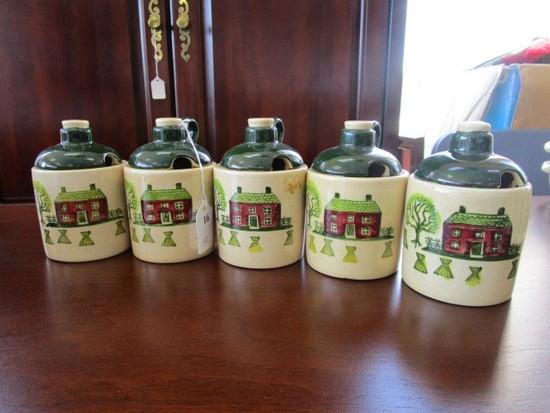 Poppytrail by Metlox Ceramic Homestead Pattern Vintage 5 Jam/Mustard Jars w/ Lid