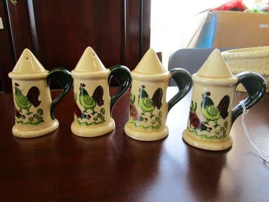 Poppytrail by Metlox Ceramic Homestead Pattern Vintage 4 Salt/Pepper Shakers