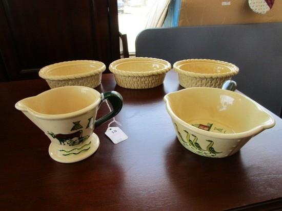 Poppytrail by Metlox Ceramic Homestead Pattern Vintage Misc. Lot - Creamer, Soup Bowl