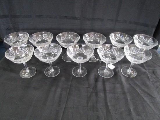 11 Crystal Glass Saucers Ornate Sunrise Cut Pattern