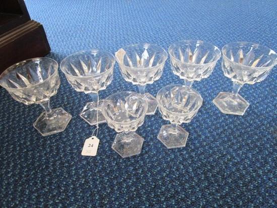 Lot - Cristal D'Arques Chaumont Pattern 5 Champagne Saucers, 2 Port Glasses