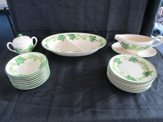 """Franciscan Earthenware Lot - Divided Platter Oak Leaf Pattern 12 1/2"""" L"""