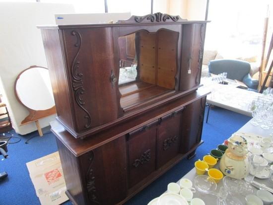 Antique Wooden Standing Display Cabinet 2-Part, Top 2 Doors, 2 Inlay Shelves