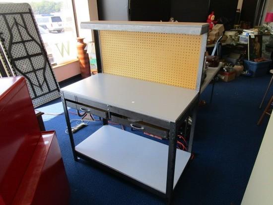 Gorilla Rack Work Bench Model: GRB7560 Wood Top Metal Frame, Wood Back w/ Booklet