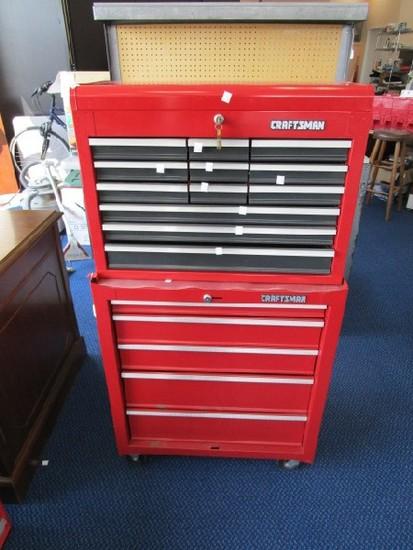 Craftsman Red 2 Part Tool Organizer on Casters w/ Lock/Key