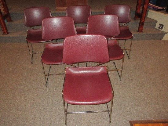 6 KI Matrix Armless Stack Chairs Features Deep Cayenne Color Contoured Back/Waterfall Seat