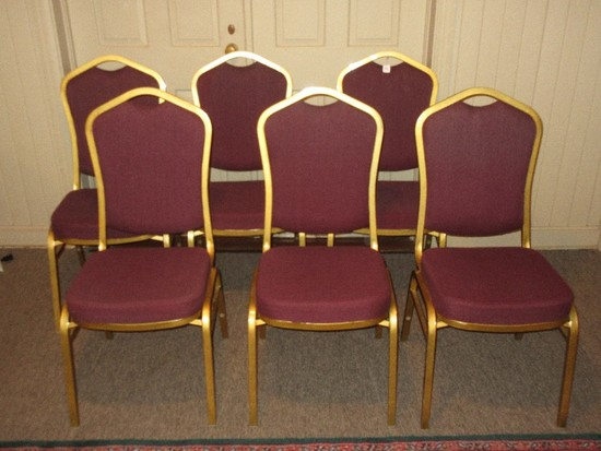 6 Metallic Gold Tone Metal Frame Stacking Chairs w/ Arched Handled Upholstered Back/Seat