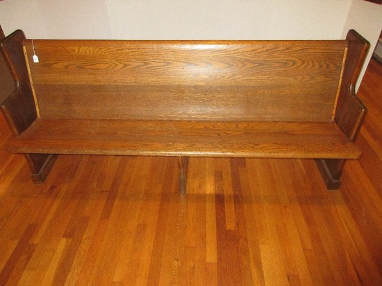 "Mixing Wooden Church Pew 77 3/4"" L w/ Hymn Book Rack & Communion Cup Holders"