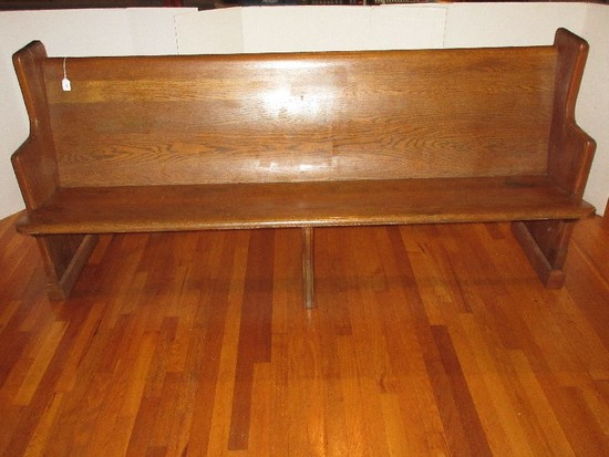 "Mixed Wooden Church Pew 77"" L w/ Hymn Book Rack & Communion Cup Holder"