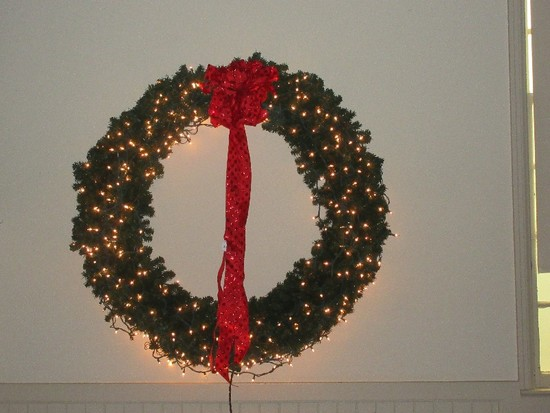 "Impressive Huge 50"" D Lighted Evergreen Fir Christmas Wreath"