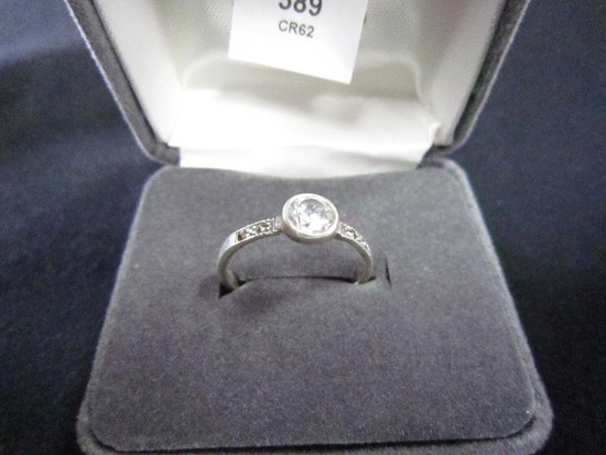 925 Stamped Cubic Zirconia Marcasite Ring