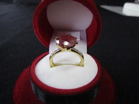 925 Stamped Gold Plated Ring w/ Large Ruby Stone