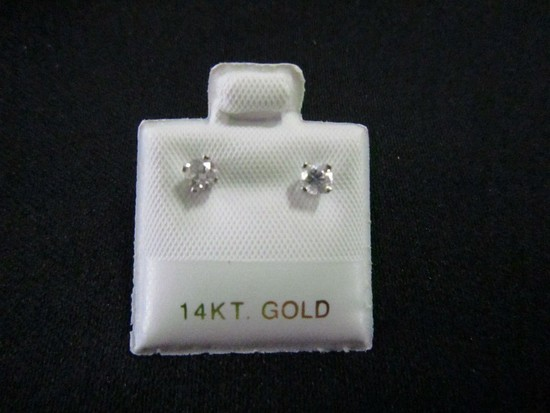 Pair - Stamped 14k White Gold Earrings Set w/ 2 Brilliant Cut Diamonds