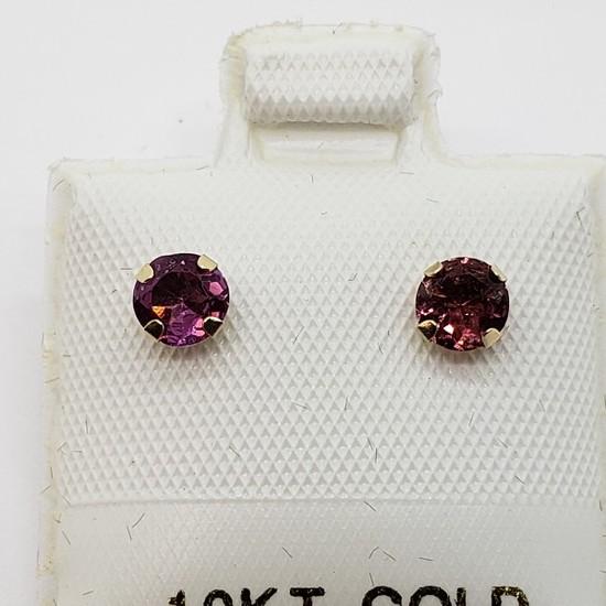 10K Yellow Gold 2 In 1 Pink Tourmaline & Fresh Water Pearl 4mm Earrings