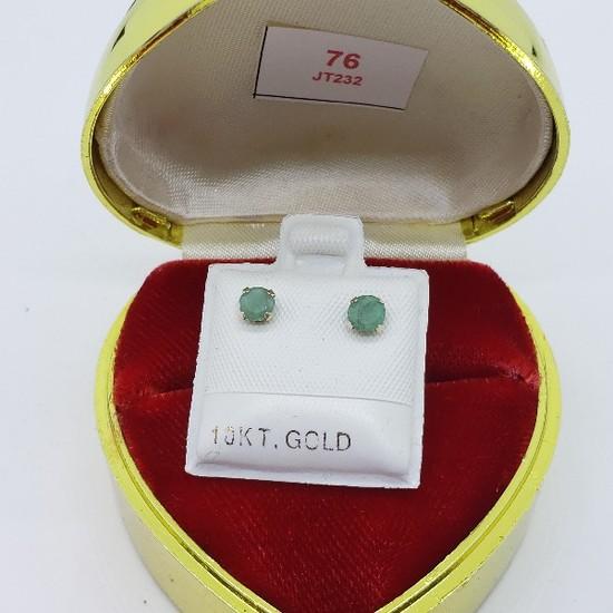 10K Yellow Gold Emerald Stud 0.5ct. Earrings