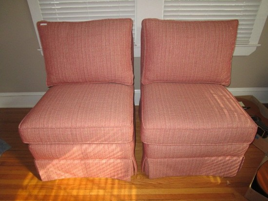 Pair - Custom Upholstered Chairs Red w/ Wood Block Feet