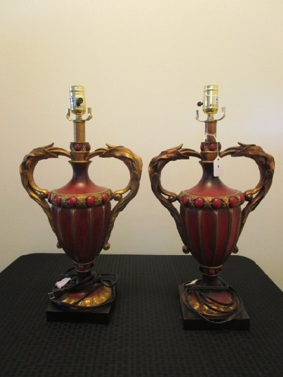 Pair - Urn Design Ornate Lamps, Acanthus Leaf Handles, Ribbed Design Body, Bead/Floral Trim