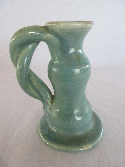 Pisgah Forest Pottery Braided Handle Chamber Candle Stick