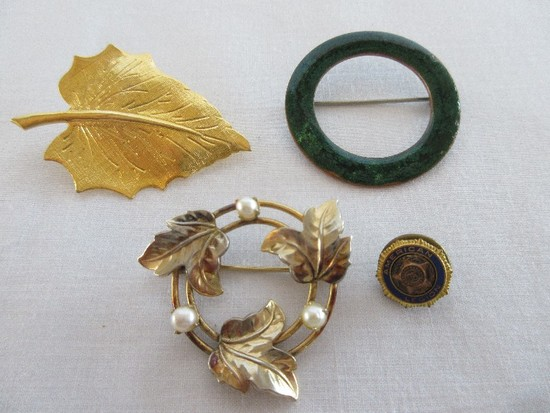 3 Ladies Brooches Gold Tone Leaf, Green Enamel, Faux Pearls/Foliate Design & Other