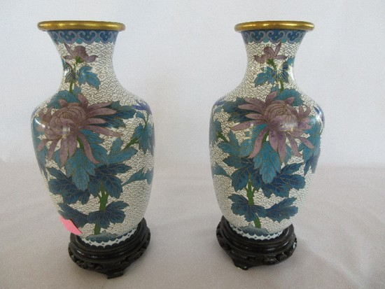 Pair - Cloisonné Vases on Footed Base Chrysanthemum & Foliage w/ Butterfly Design
