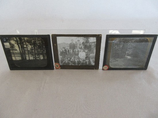 3 Early Photographic Plates Tree Lined Country Road, Mill Baseball Team & Lake Shore Scene
