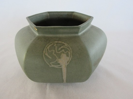 "Early Roseville Pottery Rosecraft Hexagon Pattern 4"" Bowl Vase Stamp RV Ink Mark Circa 1924"