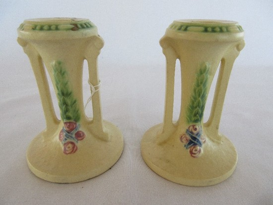 "Pair - Roseville Pottery La Rose Relief Pattern 4"" Candle Holders"