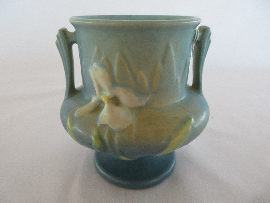 Roseville Pottery Iris Pattern Double Handled Footed Vase Circa 1938