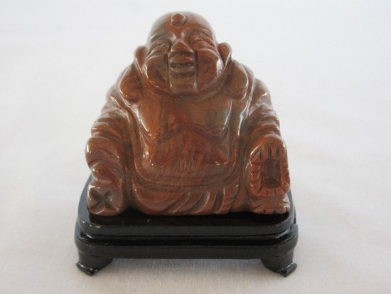 Carved Stone Sitting Happy Buddha Sculpture Figurine w/ Footed Base