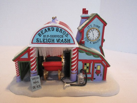 "Department 56 North Pole Series Heritage Village Collection ""Beard Bros Sleigh Wash"""