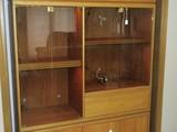 Custom Made Oak Cabinet Contemporary Modern Design w/ Built in Light, Smoke Glass Panels