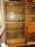 Oak Display Cabinet w/ Built in Lighting Glass Panel Doors & Base Drawers
