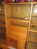 Oak 7 Display Cabinet w/ Top Glass Panel Doors