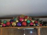 Oversized Vivid Color Ornaments & Ribbon Christmas Décor Swag