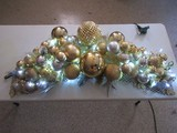 Silver & Gold Tones Oversized Ornaments & Ribbon Lighted Christmas Décor Swag
