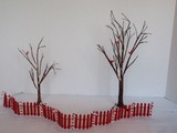 2 Department 56 Bare Branch Trees w/ Perched Cardinal Red Birds/Snow Dusted