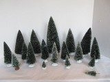 Lot - Department 56 Village Collection Flocked Sisal Trees
