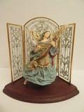 Hallmark Holiday Decoration Heavenly Minstrel Angel Figurine w/ Decorative Glass Triptych