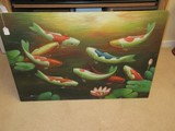 Koi Fish & Pink Waterlily Flower/Foliage Original Art on Canvas Artist Signed Wrapped Canvas