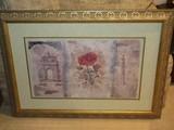 Stunning Baldwin Art European Architectural & Red Stem Flower Print on Artist Paper