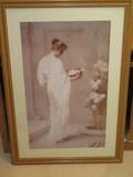 Portrait Victorian Fair Maiden w/ Flower Basket Print
