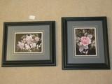 Pair - The Art Gallery Rose Bud Sprays in Black Shadow Box Frames/Matt