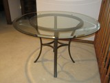 Transitional Modern Style Hammered Finish Metal Table Base w/ Beveled Glass Edge