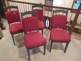 Set - Grey Chalk Paint Side Chairs w/ Maroon Upholstered Backs/Seats