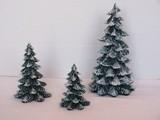 Department 56 Village Set - 3 Evergreen Trees Snow Dusting Cold Cast Porcelain