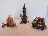 Lot - Department 56 Figurines Decorating A Tree, Elves Tangled Electric Lights